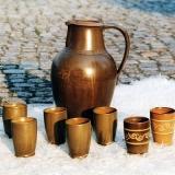 Gesellenstück, Krug und Becher, Lehmglasur